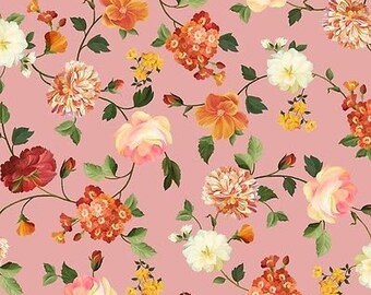 """Floral Fabric: Beautiful Les Fleurs Packed Floral Flower Toss PINK by Quilting Treasures 100% cotton Fabric by the yard 36""""x43"""" (C339)"""