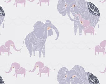 "New Elephant Fabric: Dear Stella Dreamscape Elephants White  100% cotton fabric by the yard 36""x43"" (TT35)"