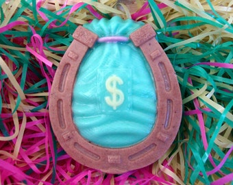 SOLD! Hand made soap- Horseshoe with money bag, with perfume oil