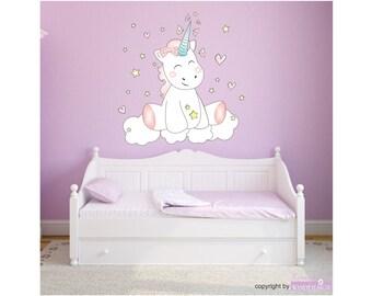 Wall decals wall sticker decal wall tattoo nursery bedroom Unicorn Unicorn cutie with 6 lights stars