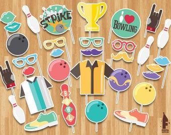 Bowling Printable Photobooth Props - Printable Bowling props - Bowling Party Props- Printable Bowling props- Bowling Printable Photobooth