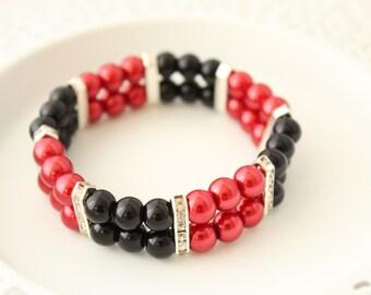 Pearl Cuff Bracelet - Red Pearl Bracelet - Black Bracelet - Gift for Wife - Mother's Day Gift - Gift for Mother - Red and Black Bracelet