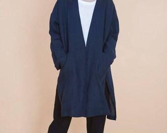 Linen cardigan in navy blue