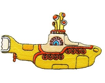 The Beatles Submarine Embroidered Applique Iron on Patch 10 cm. x 5.7 cm.