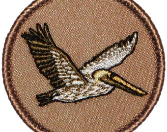 Brown Pelican Patch (216) 2 Inch Diameter Embroidered Patch
