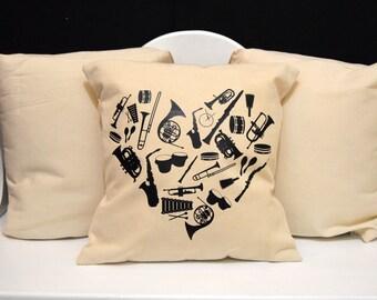 Music Pillow, Instrument Pillow, novelty throw pillow, pillow gift, nerd gift, nerd pillow, modern home decor,  Nerdy Pillow, band pillow