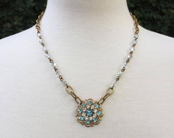 Vintage Assemblage Necklace with Repurposed Vintage Blue and Clear Rhinestone Flower Brooch and Czech Glass Beaded Chain