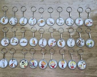 Calvin & Hobbes Bottlecap Keychain
