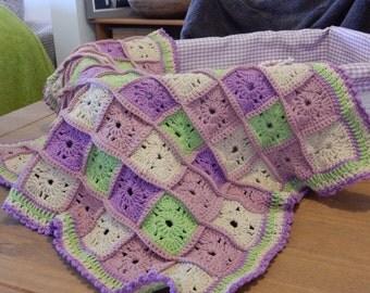 beautiful hand made crochet baby blanket for the pram or crib