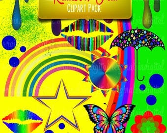 80% OFF SALE Rainbow Fun clipart umbrella, butterfly, flowers, commercial use, vector graphics, digital clip art, digital images - pack 116