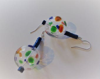 "Earrings with Lapis hollow glass bead ""bubbles""/casual gemstone Jewelry/playful gift for women"