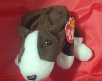 Retired 1997 Bruno ( brown and white dog ) Ty Beanie Baby with swing tag
