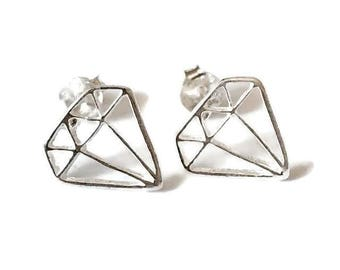 Sterling Silver Diamond Geometric Stud Earrings/Highly polished/Gifts/wedding/bridesmaid