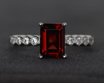 garnet ring emerald cut red garnet engagement ring silver red gemstone ring January birthstone ring