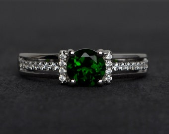 natural chrome diopside ring diopside engagement ring round cut diopside green gemstone rings silver