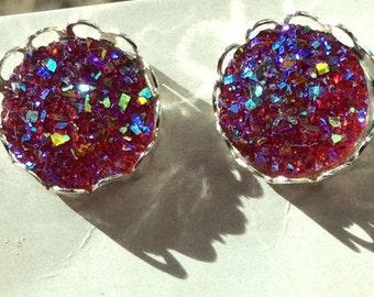 12mm-hot pink Druzy earrings in silver setting