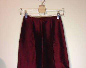 high waisted red metallic skirt