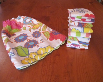 Set of 8 Bean Bags with Carry Pouch - floral / stripy print