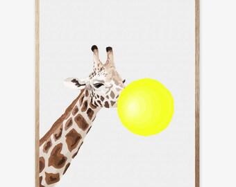 Zebra Panda Giraffe Print, Nursery Animal Wall Art, Kids Room Printable Instant Digital Download, Yellow Bubble Gum, Modern Minimalist 16x20