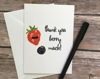 thank you very much card - berry card - fruit card - appreciation card - thanks berry much card - teacher card - pun card - foodie card -