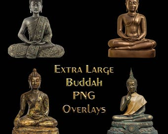 4 x Buddha Statue Overlays, Large Files, Separate PNG's, High Resolution, Instant Download.