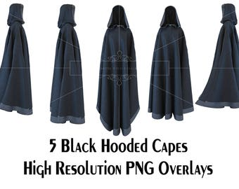 5 x Hooded Black Capes Overlays, High Resolution, Separate PNG Files, Instant Download.