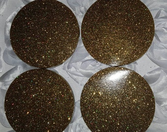 Glitter Resin Coasters Gold// Sparkle Bling Custom// Unique Gift Home Decor Accent// Set of Four// Holographic Gold Glitter