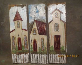 Hand Painted Churches Reclaimed wood set of 3 Rustic Primitive Shabby Chic Religious