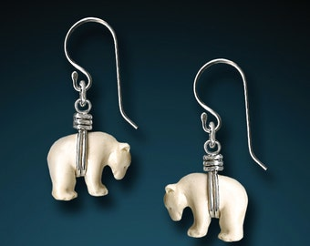 Sterling Silver Zuni Bear Earrings - Hand Carved Bone