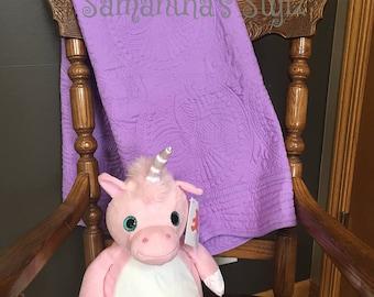 Heirloom Baby Quilt, Purple Embroirdered Quilt, Monogrammed Quilt, Personalized Quilt, Lap Quilt, Keepsake Blanket, Cotton Baby Blanket