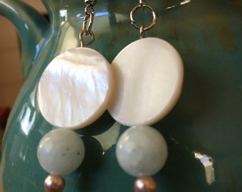 Handmade, Beach, Boho, Silver, Rose Gold, Pearl, White, Round Lentil Shell, Bead, Drop, Dangle, Earrings