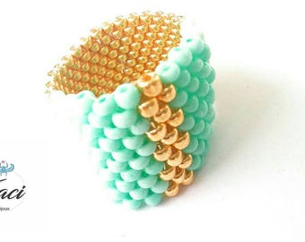 Colorful beaded ring/ring/Golden Ring/Ring n9