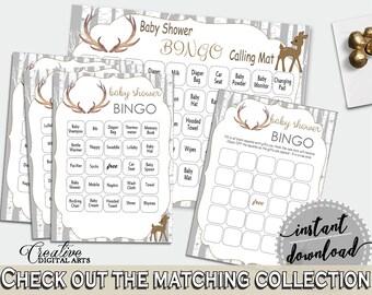 Bingo 60 Cards Baby Shower Bingo 60 Cards Deer Baby Shower Bingo 60 Cards Baby Shower Deer Bingo 60 Cards Gray Brown - Z20R3