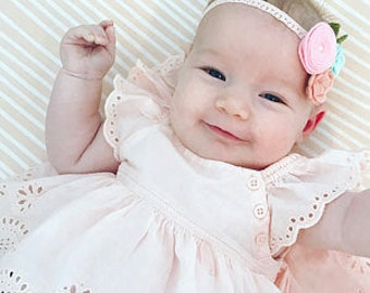 Baby headband, pink ,pink grapefruit and peach garland headband, Newborn headband, lace headband, baby flower headband, pink flower headband