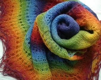 Handmade Lace Shawl, Hand Knitted, 100% Wool, Kauni Yarn, Lamb wool hand knitted lace shawl, Warm large shawl, Rainbow
