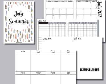STANDARD Size: JULY - SEPTEMBER 2017 Vertical Week on 2 Pages (Monday Start) Printable Insert for Travelers Notebooks