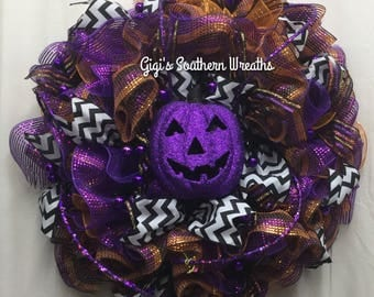 Halloween Deco Mesh Ruffle Wreath, Deco Mesh Wreath, Halloween Wreath, Purple Orange Black Wreath 144