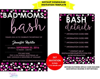 Bad Moms Bash Birthday Party Invitation Template, Mom, Mothers Editable Birthday Printable Instant Download Pink Black Details Info Party