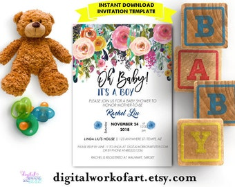 Baby Shower Invitation Template, DIY Editable Floral Baby Shower Template, PDF Instant Download, Watercolor Boho Shower Invitation, Oh Baby!