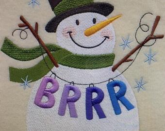 """Embroidered """"Brrr Snowman"""" Shirt"""