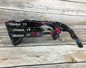 Floral ADULT Personalized Sunglasses, Floral Sunglasses, Wedding Favor, Bachelorette Party Favor, Flower Theme Favors, Vintage Wayfarers