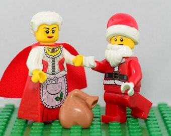 Santa Claus 2 pc minifigure set (Lego Compatible) Santa Claus & Mrs Claus Saint Nicolas St Nick Kris Kringle Christmas Gift Stocking Stuffer
