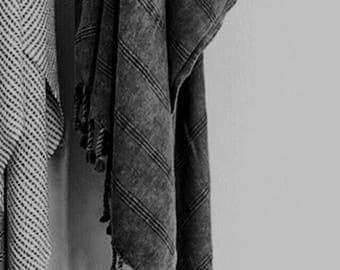STONEWASHED -grey- organic cotton Turkish towel / throw - postage from AU