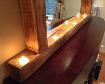 Le Dinard. A rustic framed mirror with 5 tea-lights