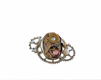 Steampunk Ring steampunk-ring rosa Glitzersteine