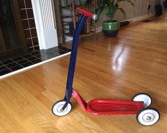Vintage Hamilton Greyhound three wheeled Red/Blue Scooter/child's/toy