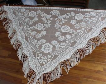 Fringed Lace Boho Tapestry/Curtain with Fringe
