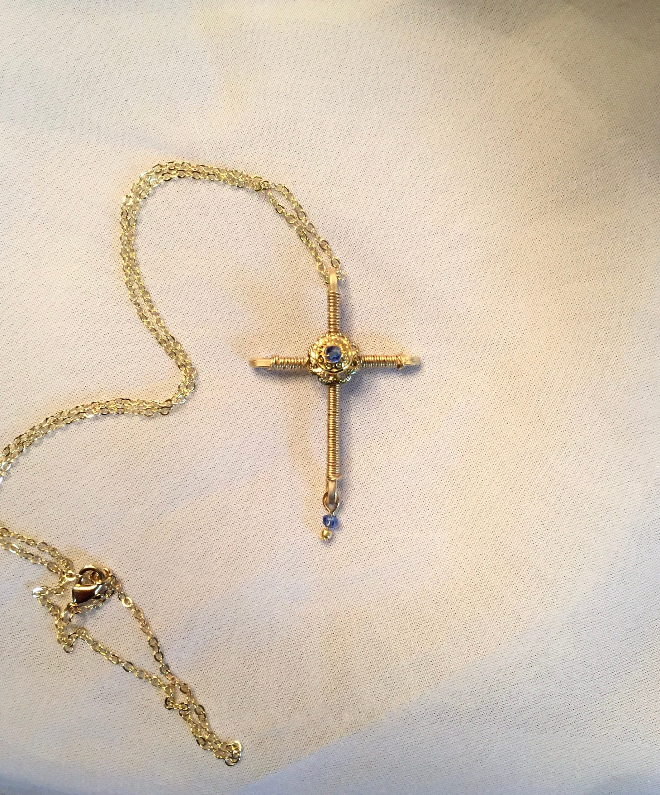 Wire wrapped beaded cross pendant necklace-blue cross-gold cross ...