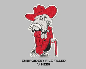Embroidery file filled design mississippi 3 sizes