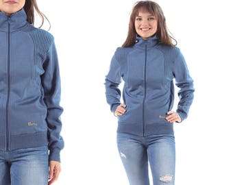 Grandpa Track Jacket 80s Minimal Zip Up Turtleneck Retro Track Suit Top Jacket Knitted Wool Blend 1980s Work Out Sports Vintage  Blue Medium
